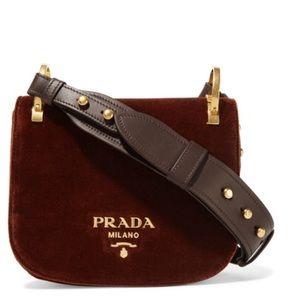 8ab993403232 Prada Bags   Pionniere Velvet And Leather Saddle Bag   Poshmark